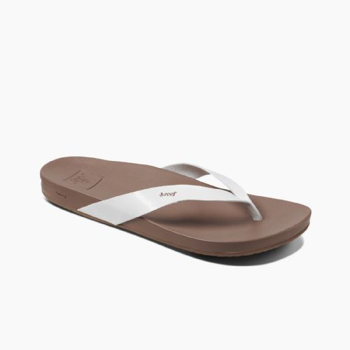 REEF WOMENS FLIP FLOPS.CUSHION BOUNCE COURT WHITE VEGAN LEATHER THONGS 9S DS CLD